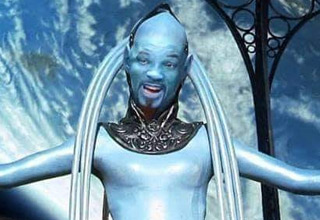 the blue opera singer from the 5th element but with will smiths face photoshopped onto it