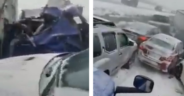 a photo of a 15 car pileup on interstate 70 due to ice and snow a blue car is mangled