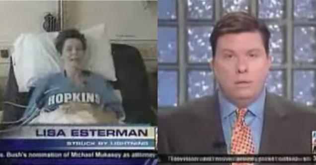 Screenshots of news blooper where woman struck by lighting speaks