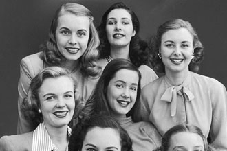A group of old school looking girls.