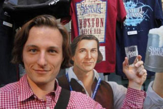 Sam Adams and a guy who looks just like him.