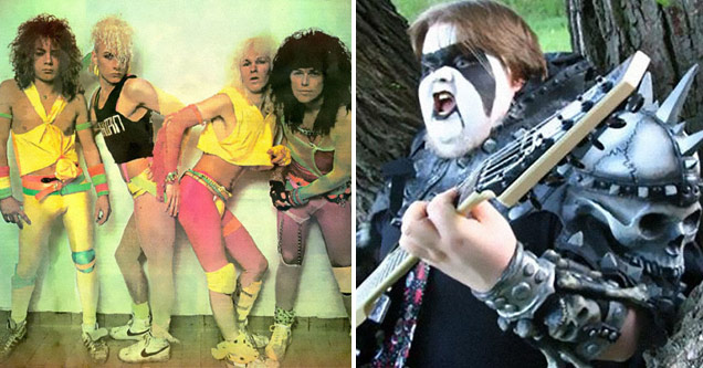 an album cover of a 80s hair metal band looking very cringeworthy in pink and yellow spandex