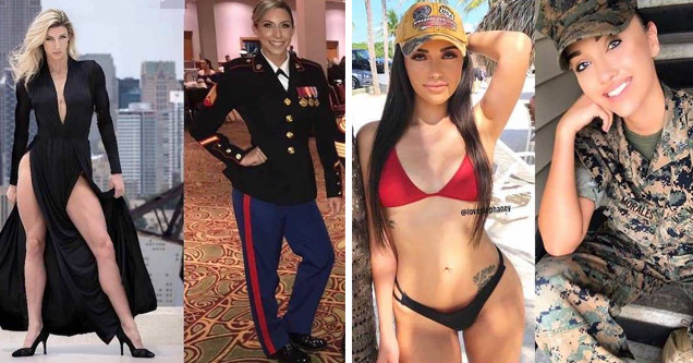 a blonde woman in a black dress next to a photo of her in uniform and a sexy brunette woman in a red bikini next to a photo of her in uniform