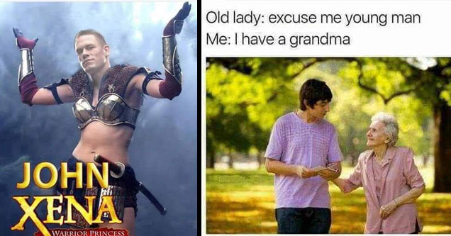 John Xena and An old woman talking to a boy.