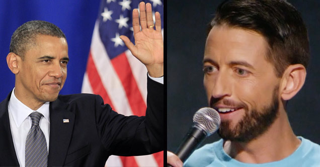 a photo of president barack obama waving standing in front of a blue screen and american flag and a photo of neal brennan holding a microphone