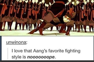 Aang fighting a guy,