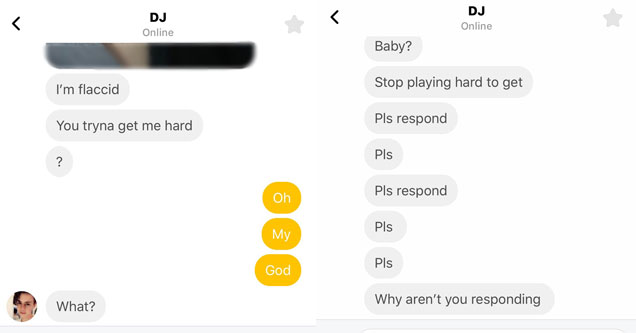 Desperate guy on a dating app begging for pics