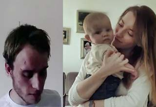 Alex Skeel with a scar on his head and a woman holding their child in the living room.