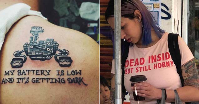 a tattoo about the recently shutdown mars rover and a woman wearing a naughty shit