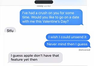 a text message asking someone out and then getting rejected