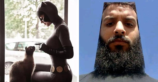 a photo of a woman in catwoman cosplay petting a cat and a man with his hair and beard shaved to make his whole head look square