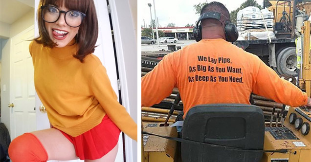 a girl in thelma from scooby doo cosplay and a man wearing an orange shirt that says we will lay pipe as long and as deep as you want