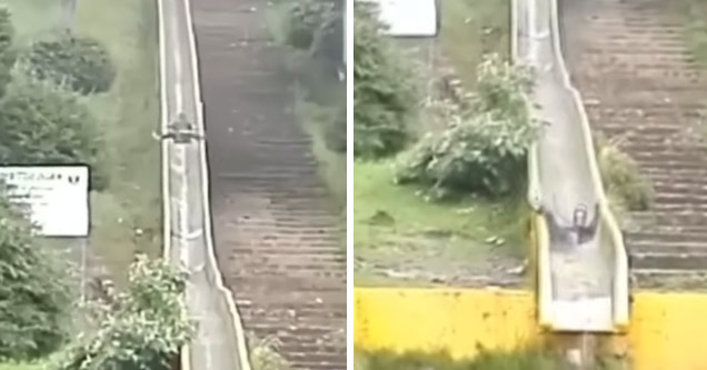 a man comes down an old waterslide slamming into the ground