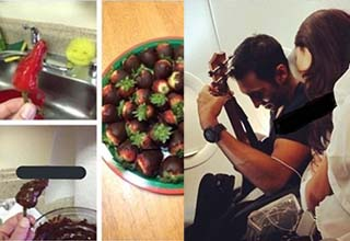 a strawberry covered in chocolate with a pepper covered in chocolate, a man playing guitar on a plane