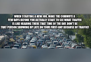 Traffic jam with text overlay.