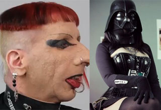 Man with weird hair and make up. Hot girl darth vader.