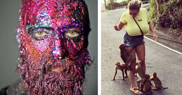 a mans face covered in pink and fluorescent paint and glitter and a very large breasted woman with monkeys clinging to her legs