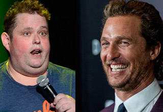 ralphie may holding a mic doing stand up and movie star matthew mcconaughey laughing and smiling