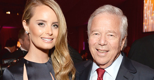 patriots owner robert kraft and his wife in formal dress clothes