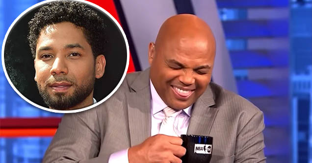 Jussie Smollett and Charles Barkley laughing.