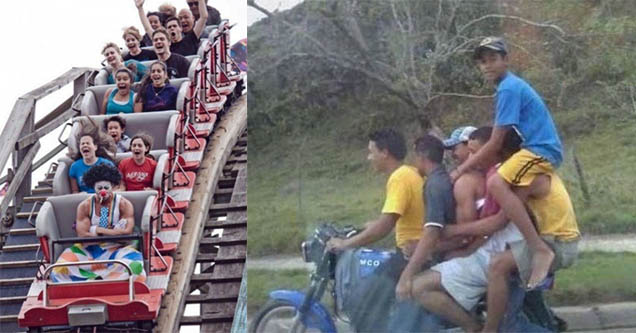 People on a rollercoaster with one man in clown make up. A bunch of ppl on one moped.