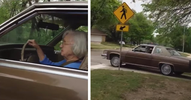 an elderly woman driving a big brown cadillac on the sidewalk by accident