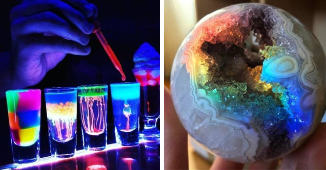 5 shot glasses on a bar filled with neon and fluorescent colored liquids and a rainbowed colored round rock that is broken open