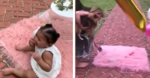 a young black girl sitting on a pink rug on the sidewalk and an older white woman pulling the rug off the sidewalk