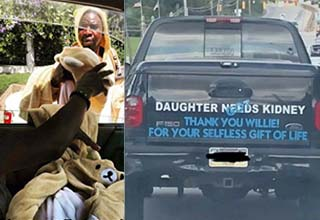 a man selling teddy bear onesies and a truck asking for help with his sick child