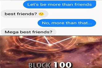 A meme about blocking.