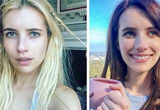 Emma Roberts before and after a hair dye