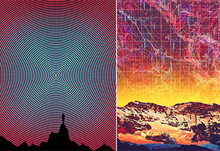 A trippy picture of a silhouette of a mountain with a vibrant pattern behind it and a trippy image of a landscape with a map transposed over top.