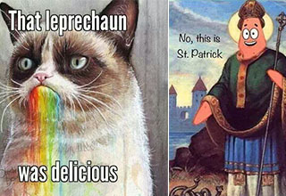 St. Patrick's Day Memes featuring Grumpy Cat and Patrick from Spongebob.