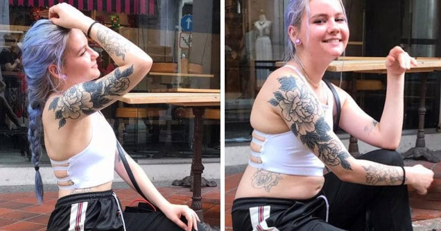 a girl with blue hair and tattoos posing for a photo and then a regular photo of her with her stomach rolls showing