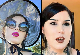 Kat Von D screenshots from her Instagram account where she has denied anti-vaxx and nazi claims.