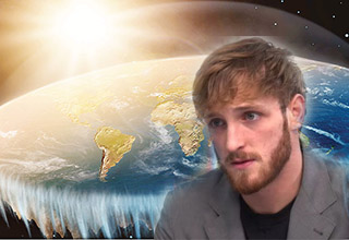 Logan Paul in front of an image of the flat earth - Logan Paul is Going to Cross Antarctica to Prove That the Earth is Flat - Memes and Reactions Included