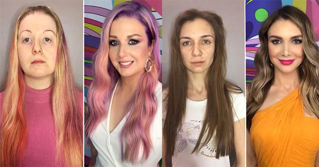 Girl before makeup. Girl after make up.