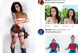 a woman in a cosplay and a roast on twitter
