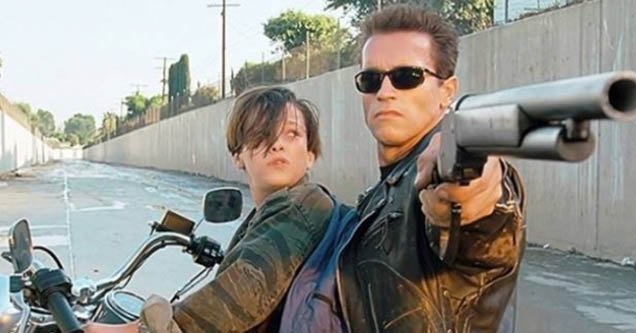 Terminator with a conner on bike pointing gun.