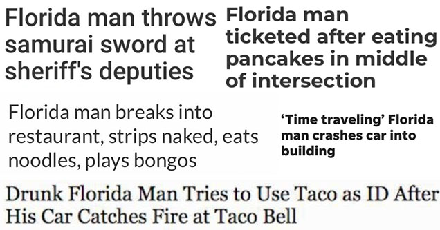 Florida Man Challenge headlines and reactions from Twitter