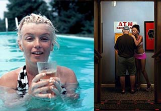 marylin monroe in a pool and a lady with a dude by an atm
