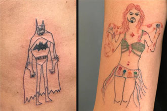 A bad tattoo of batman and a bad tattoo of a weird woman.