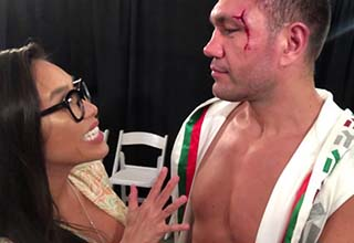 Kubrat Pulev and a post fight interview in the arena
