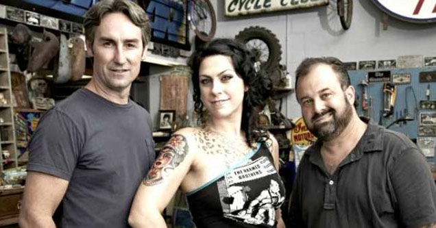 a photo of mike wolf danni d and frank fritz of american pickers