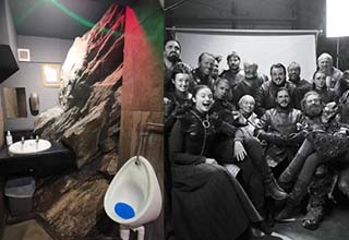 a toilet with giant rocks near it and the cast of game of thrones smiling