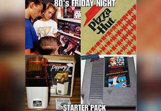 80s friday night starter pack. Games, popcorn popper, and video game.