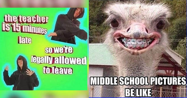 guy in hoodie 'the teacher is 15 minutes late legally allowed to leave'. Ostrich with braces