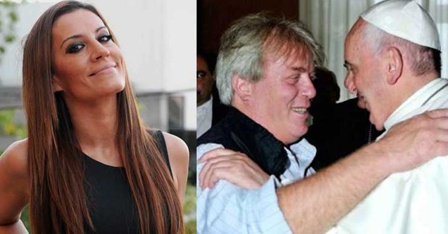 a photo natacha jaitt and a a picture of her husband hugging a ope or priest