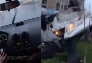 Teens in car driving fast drifting. Car post drifting smashed up.