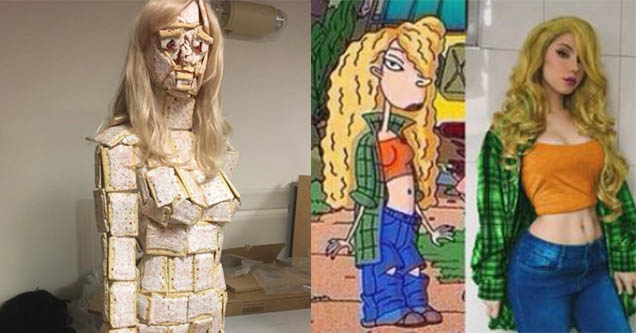 Woman dressed as pop-tarts. Cosplay of Debbie Thornberry.
